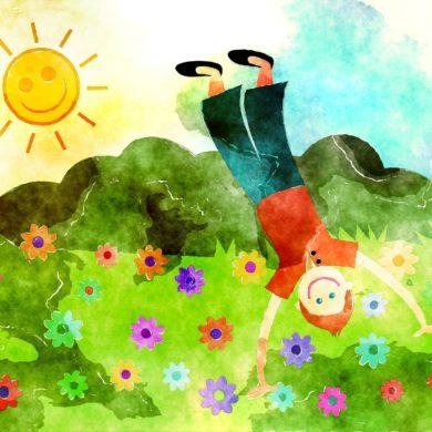 Bunte Blumenwiese mit Kind und Sonne