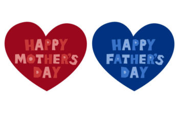 Mother's Day and Father's Day. Vector illustration set. Logotype, icon. Heart design.